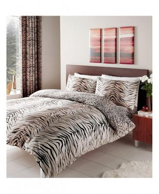 Tiger Skin Print Reversible King Duvet Cover Set