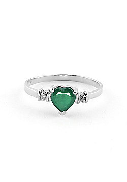QP Jewellers Diamond & Emerald Heart Ring in 14K White Gold