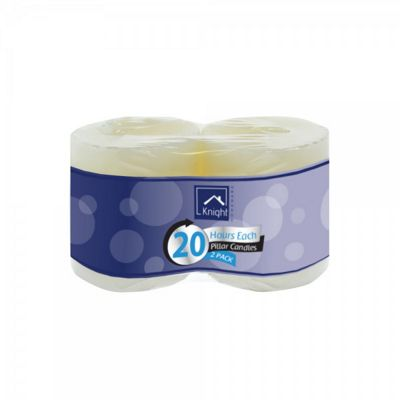 2 x White Pillar Candle 20 Hours Burn Time