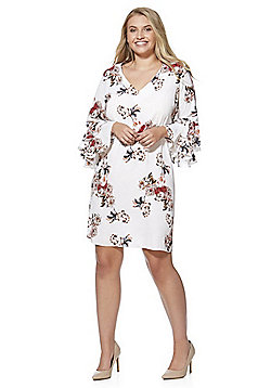 Lovedrobe Floral Double Flute Sleeve Plus Size Dress - White