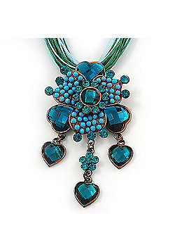 Teal Green Diamante Vintage Flower Pendant On Cotton Cords Necklace In Bronze Metal - 38cm Length/ 7cm Extension