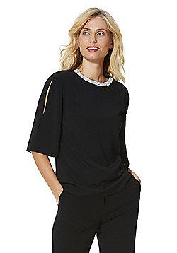F&F Embellished Neck Split Sleeve Top - Black