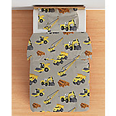 Diggers Single Duvet Cover Set with Pillowcase