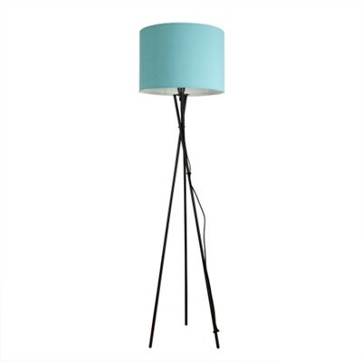 Camden Tripod Floor Lamp, Gloss Black & Duck Egg Blue Rolla Shade