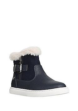 F&F Faux Fur Trim Ankle Boots - Navy