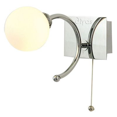 Globe Wall Lamp With Pull-Cord Switch 1 Light Opal Glass