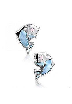 Jo For Girls Mother of Pearl Dolphin Stud Earrings