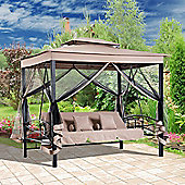Outsunny 3 Seater Swing Chair Hammock Gazebo Patio Bench Seat Mesh Curtains - Beige
