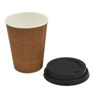 Disposable Coffee / Tea / Hot Drinks Kraft Ripple Cup & Lid - 12oz / 340ml - Pack Of 20