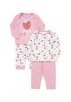 F&F 2 Pack of Fruit Print Pyjamas - Multi
