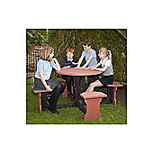 BrackenStyle Small Round Picnic Table - Red