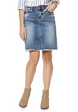F&F Frayed Hem Denim Skirt - Denim