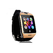Bas-Tek Q18 Curved HD Smartwatch With Sim Card Slot, Touchscreen Display - Gold