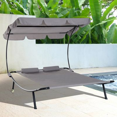 Outsunny Double Hammock Sun Lounger Bed Canopy Shelter Wheels 2 Pillows - Grey