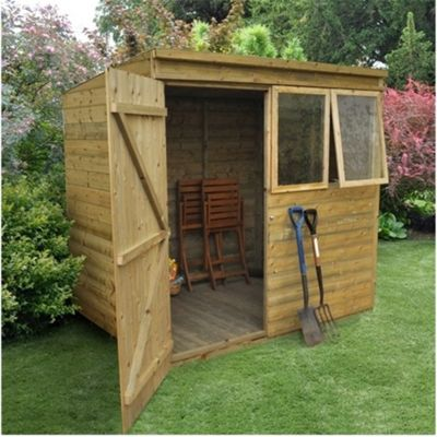 7 x 5 Rock Pressure Treated Shiplap Pent Shed 7ft x 5ft (2.14m x 1.52m)