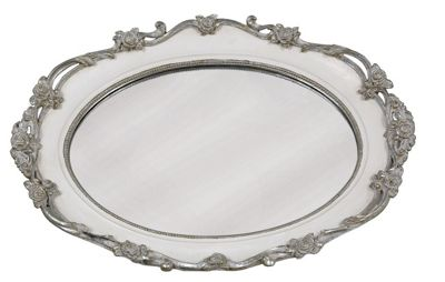 Antique Silver And White Mirrored Tray