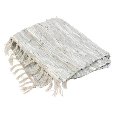 Light Grey Leather Rag Rug