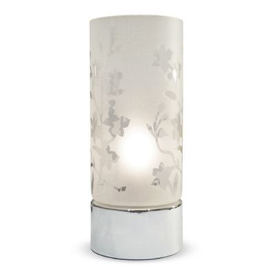 Florette Etched Glass Touch Table Lamp, Chrome