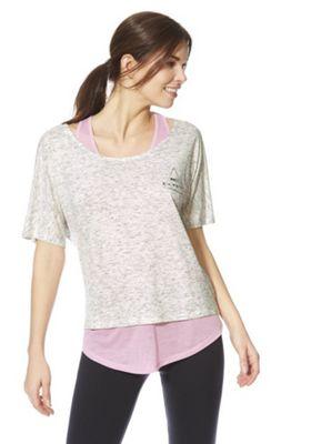 F&F Active Make It Happen 2-in-1 T-Shirt Light Grey XS
