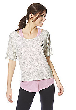 F&F Active Make It Happen 2-in-1 T-Shirt - Light Grey