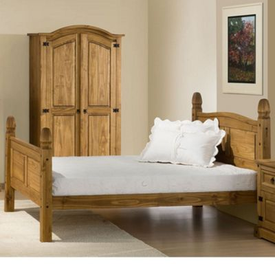 Happy Beds Corona Wood High Foot End Bed with Open Coil Spring Mattress - Waxed Pine - 4ft Small Double