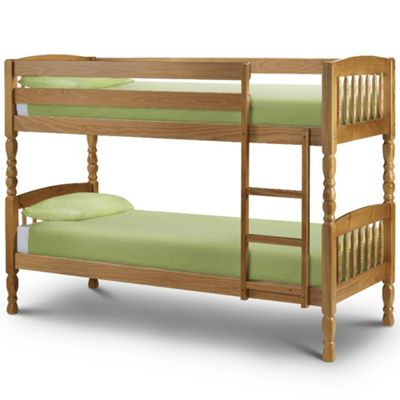 Happy Beds Lincoln Wood Kids Bunk Bed with 2 Orthopaedic Mattresses - Antique Pine - 2ft6 Small Single