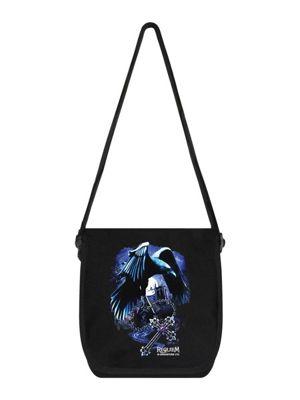 Requiem Collective Sacred Raven Mini Messenger Bag 19 x 25 x 8cm, Black
