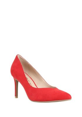 F&F Sensitive Sole Faux Suede Pointed Toe Court Shoes Red Adult 3