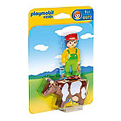 Playmobil 1.2.3 Farmer With Cow 6972