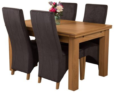 Richmond medium Extending Solid Oak Dining Set Table and 4 Black Fabric Chairs
