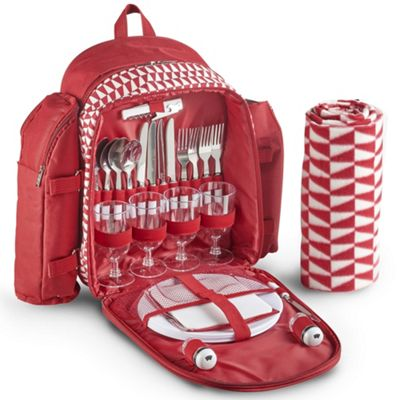 VonShef 4 Person Picnic Backpack Bag Set - Red