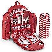 VonShef 4 Person Picnic Backpack Bag Set - Red