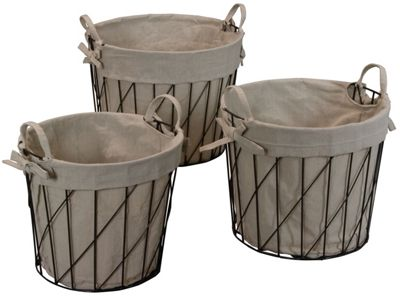 Set of 3 Wire and Linen Round Baskets