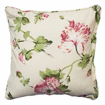 Homescapes Coral and Cream Floral Cushion Cover