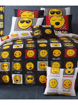 Emoji Expressions Double Duvet Cover and Pillowcase Set - Black