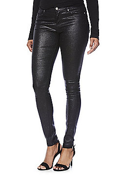Vero Moda Glitter Coated Skinny Jeans - Black