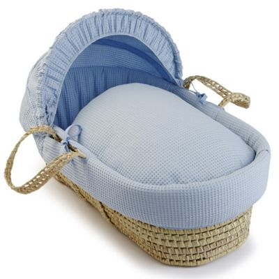 Clair de Lune Palm Moses Basket (Soft Waffle Blue)