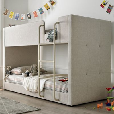 Happy Beds Saturn Fabric Kids Bunk Bed with 2 Open Coil Spring Mattresses - Oatmeal - 3ft Single