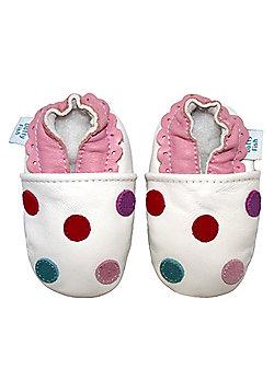 Dotty Fish Soft Leather Baby Shoe - White Multicoloured Spotty Dotty - White