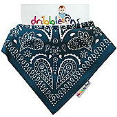 Dribble On Designer Print Bib - Navy Paisley