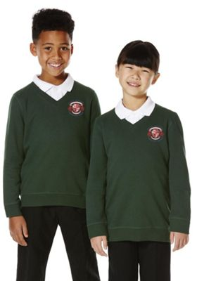 Unisex Embroidered V-Neck School Sweatshirt with As New Technology Bottle Green 2-3 years