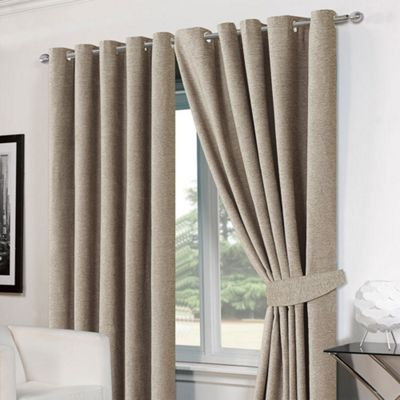Dreamscene Pair Eyelet Chenille Curtains And Tiebacks, Silver   46