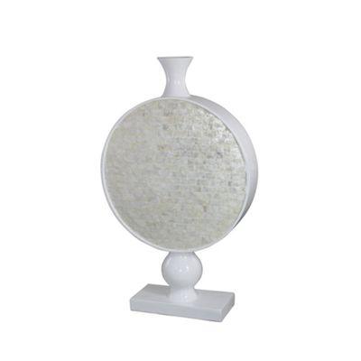 Cream Shell Fibreglass Continental Stemmed Circle Vase