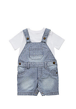 F&F Ticking Stripe Dungarees and T-Shirt Set - Blue & White
