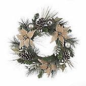 Silver Glitter and Hessian Poinsettia Christmas Wreath, 60cm