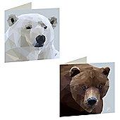 Birthday, Anniversary Greetings Card - Bears Animal Design - Blank - Set of 3