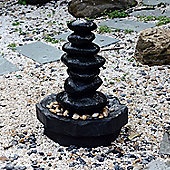 Outsunny Stone Pillar Water Fountain Outdoor Indoor Patio Cascade LED Rocks