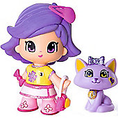 Pinypon Blister Figure and Pet - Purple Hair and Purple Cat