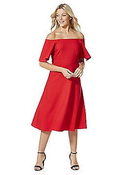 Stella Morgan Bardot Empire Line Flared Dress - Red