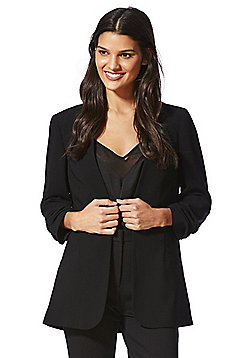 F&F Open Front Ruched Sleeve Blazer - Black